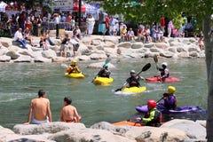 Concorrenza del kajak del 9 maggio 2009 di festival del fiume di Reno Fotografia Stock Libera da Diritti