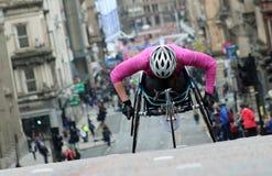 Concorrenza dell'atleta della sedia a rotelle Fotografie Stock Libere da Diritti