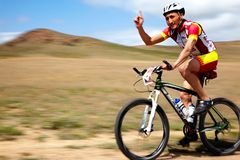 Concorrenza della bici di montagna di avventura Fotografia Stock Libera da Diritti