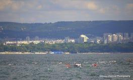 Concorrenza di nuoto, città di Varna Fotografie Stock Libere da Diritti