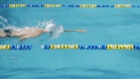 Concorrenza di nuoto Il nuotatore professionista nuota da sinistra a destra stock footage