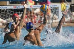 Concorrenza di Waterpolo CN Mataro CONTRO Barceloneta Mataro Fotografia Stock Libera da Diritti