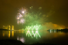 Concorrenza internazionale 2013 dei fuochi d'artificio di Putrajaya Immagine Stock Libera da Diritti