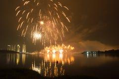 Concorrenza internazionale 2013 dei fuochi d'artificio di Putrajaya Fotografie Stock Libere da Diritti