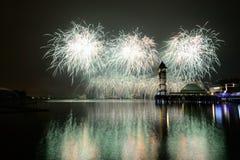 Concorrenza internazionale 2013 dei fuochi d'artificio di Putrajaya Fotografia Stock