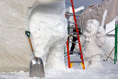Concorrenza internazionale della scultura di neve Immagine Stock Libera da Diritti