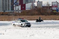 Concorsi dell'automobile per gli ufficiali di polizia Fotografia Stock Libera da Diritti