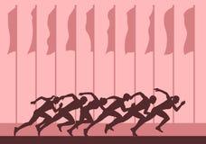 Concorsi di sport in fuga, la gente che esegue distanza di sprint Fotografia Stock