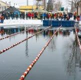 Concorsi nell'inverno che nuota il 4 novembre 2016 nella città o Fotografie Stock