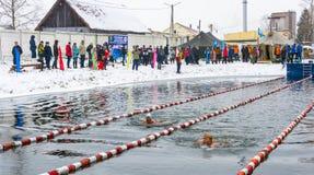 Concorsi nell'inverno che nuota il 4 novembre 2016 nella città o Immagini Stock