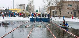Concorsi nell'inverno che nuota il 4 novembre 2016 nella città o Immagine Stock Libera da Diritti