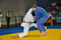 Concorsi su judo fra i junior 23.03.2013 Fotografie Stock Libere da Diritti