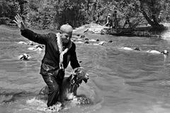 Concorso dell'acqua del passaggio delle pecore Fotografie Stock Libere da Diritti