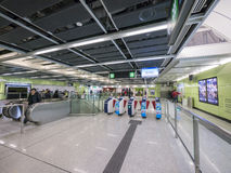 Concorso della stazione di MTR HKU - l'estensione della linea dell'isola al distretto occidentale, Hong Kong Fotografia Stock