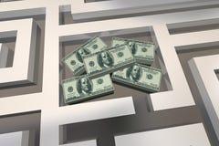 Concorso di Maze Find Cash Win Prize dei soldi Illustrazione di Stock
