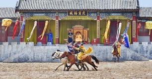 Concorso ippico antico agli studi del mondo di Hengdian, Cina di stile Fotografia Stock Libera da Diritti