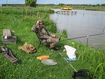 Concours amateurs sur la pêche de sports dans la région de Kaluga de la Russie Images stock