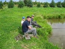 Concours amateurs sur la pêche de sports dans la région de Kaluga de la Russie Photo libre de droits