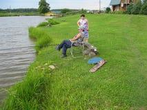 Concours amateurs sur la pêche de sports dans la région de Kaluga de la Russie Images libres de droits