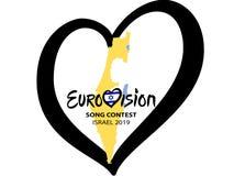 Concours de chanson d'Eurovision 2019 en Israël sur le fond blanc Concept de concours de chanson Coeur de musique avec le lettrag illustration stock