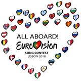 Concours de chanson d'Eurovision 2018 tous à bord à Lisbonne Coeur de musique avec le lettrage , Le Portugal sur un fond blanc Il Photos stock