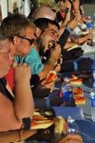 Concours de consommation de hot-dog Image libre de droits