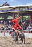 Concours hippique antique de style aux studios du monde de Hengdian, Chine Photographie stock libre de droits