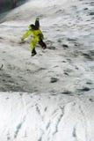 Concours nocturne de saut de Snowboard Images libres de droits