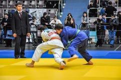 Concours sur le judo parmi les juniors 23.03.2013 Photo stock