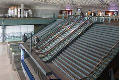 Concourse of new railway station Delft with travellers at escalator Stock Image