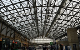 Concourse roof at Railway Station, Aberdeen, Scotland. ABERDEEN, SCOTLAND - 20 OCTOBER 2015:  Light coming through the glass over the ridged roof illuminates the Stock Images
