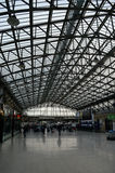 Concourse roof at Railway Station, Aberdeen, Scotland. ABERDEEN, SCOTLAND - 20 OCTOBER 2015:  Light through the glass over the ridged roof illuminates the Royalty Free Stock Images