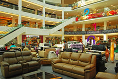 Concourse in Shopping Mall used for Furniture and. Concourse in multi storey Shopping Mall used for temporary Furniture and Car Exhibition to promote and Royalty Free Stock Photography