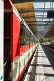 Concourse and train at Railway train station in Zermatt Switzerland Royalty Free Stock Photos