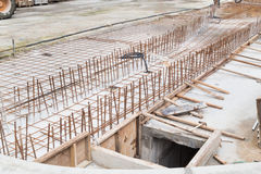Concreate metal mesh rebar at constructiion site for floor found Royalty Free Stock Photos