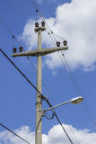 Concreet electrical pole with power lines  2 Royalty Free Stock Images