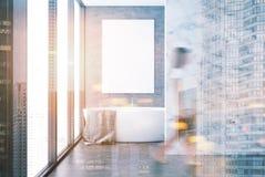 Concreet en marmeren gestemd badkamersbinnenland Royalty-vrije Stock Afbeelding
