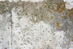 Concreet muurfragment Oude vuile cementtextuur met tekorten Grungeoppervlakte met barsten en doorstaan stock foto's