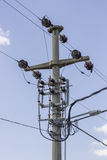 Concreet pole electrical pole with power lines 2 Stock Image