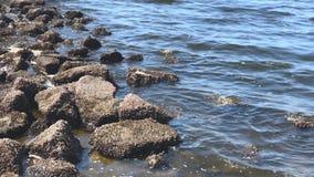 Concreet Puin in Kalme Overzees met Zachte Oceaangolf De Baksteen van breuksteen die als Golfbreker wordt gebruikt stock videobeelden