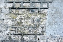 Concrere Wall with Damaged Mortar Royalty Free Stock Photography