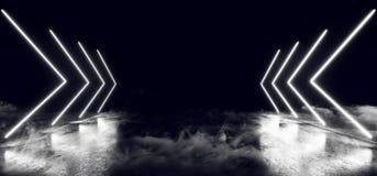 Concret grunge vide foncé rougeoyant au néon virtuel de nuit blanche d'exposition de laser de fumée formé allume l'étranger brill illustration libre de droits