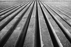 Concrete. Columns converging into horizon (black and white Royalty Free Stock Photography