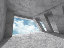 Concrete abstract architecture background with cloudy sky. 3d render illustration Royalty Free Stock Photography