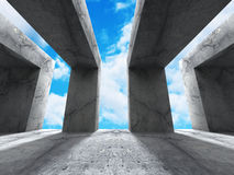 Concrete abstract architecture background with cloudy sky. 3d render illustration Royalty Free Stock Photos