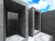 Concrete abstract architecture background with cloudy sky. 3d render illustration Stock Image