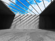 Concrete abstract architecture on cloudy sky background. 3d render illustration Stock Photo