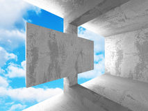 Concrete abstract architecture on cloudy sky background. 3d render illustration stock illustration