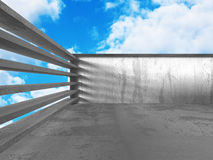 Concrete abstract architecture on cloudy sky background. 3d render illustration royalty free illustration