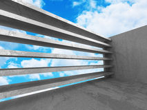 Concrete abstract architecture on cloudy sky background Stock Images